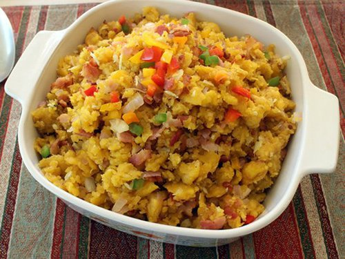 Food and Drink Latin Inspired Thanksgiving Recipe 2- Mofongo Green Plantain Turkey Stuffing
