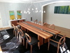 Chestnut Hill, MA client installation, dining room carpet in jet black cowhide.